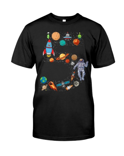 Outer Space Fifth Birthday Astronaut Number five T