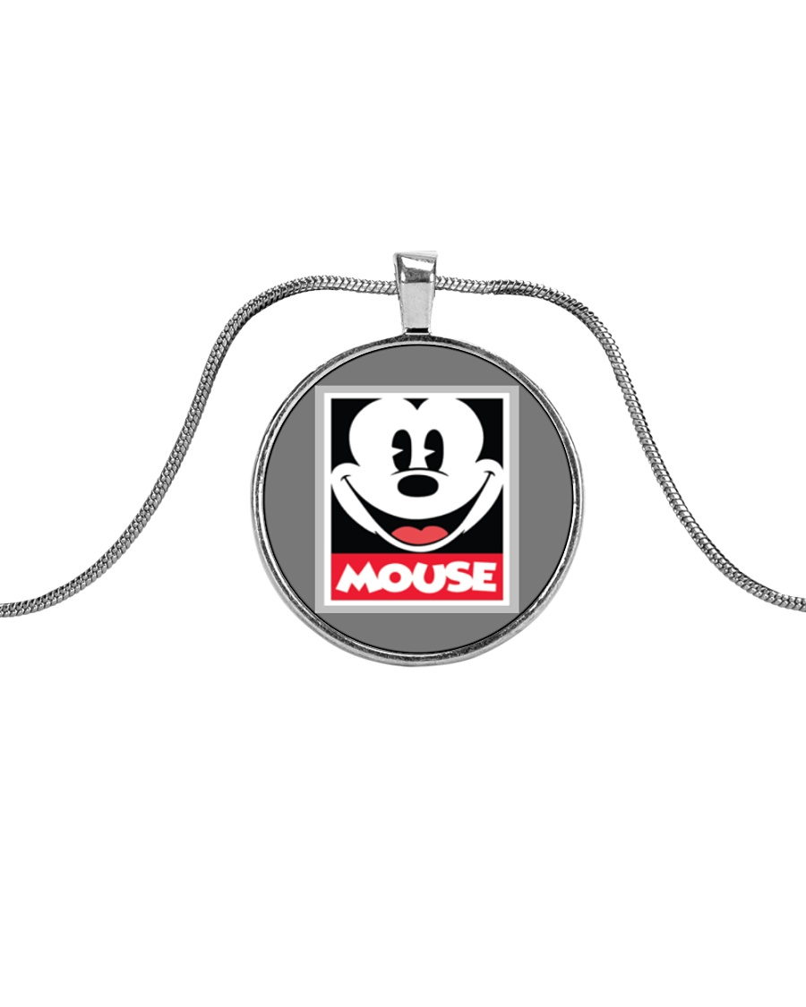 Happy Mouse Metallic Circle Necklace