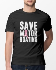 Save Motorboating Funny Breast Cancer Awareness  Classic T-Shirt lifestyle-mens-crewneck-front-13