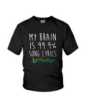 My Brain is 99 Song lyrics Funny Music Notes  Youth T-Shirt thumbnail