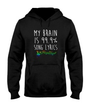 My Brain is 99 Song lyrics Funny Music Notes  Hooded Sweatshirt thumbnail