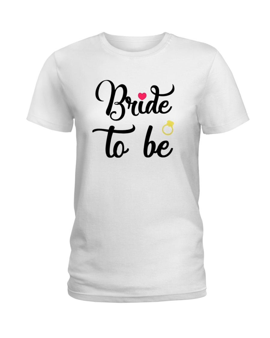 Bride To Be Shirt Matching Heart Wedding Bridal  Ladies T-Shirt