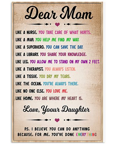 Dear Mom - Daughter - Mother's Day Poster Gifts