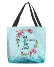 God Is My Strength Customized All-Over Tote tile
