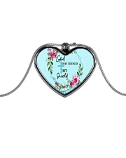God Is My Strength Customized Metallic Heart Necklace tile