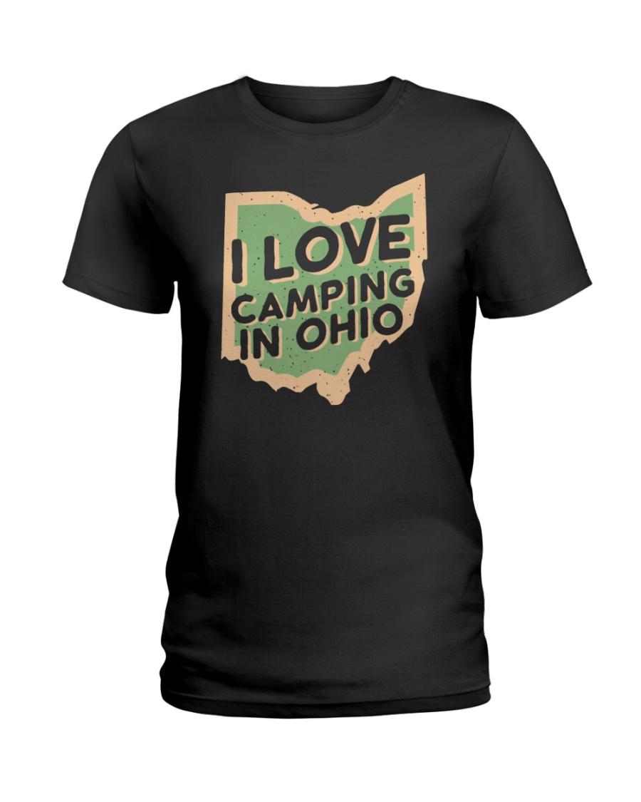I Love Camping in Ohio Ladies T-Shirt