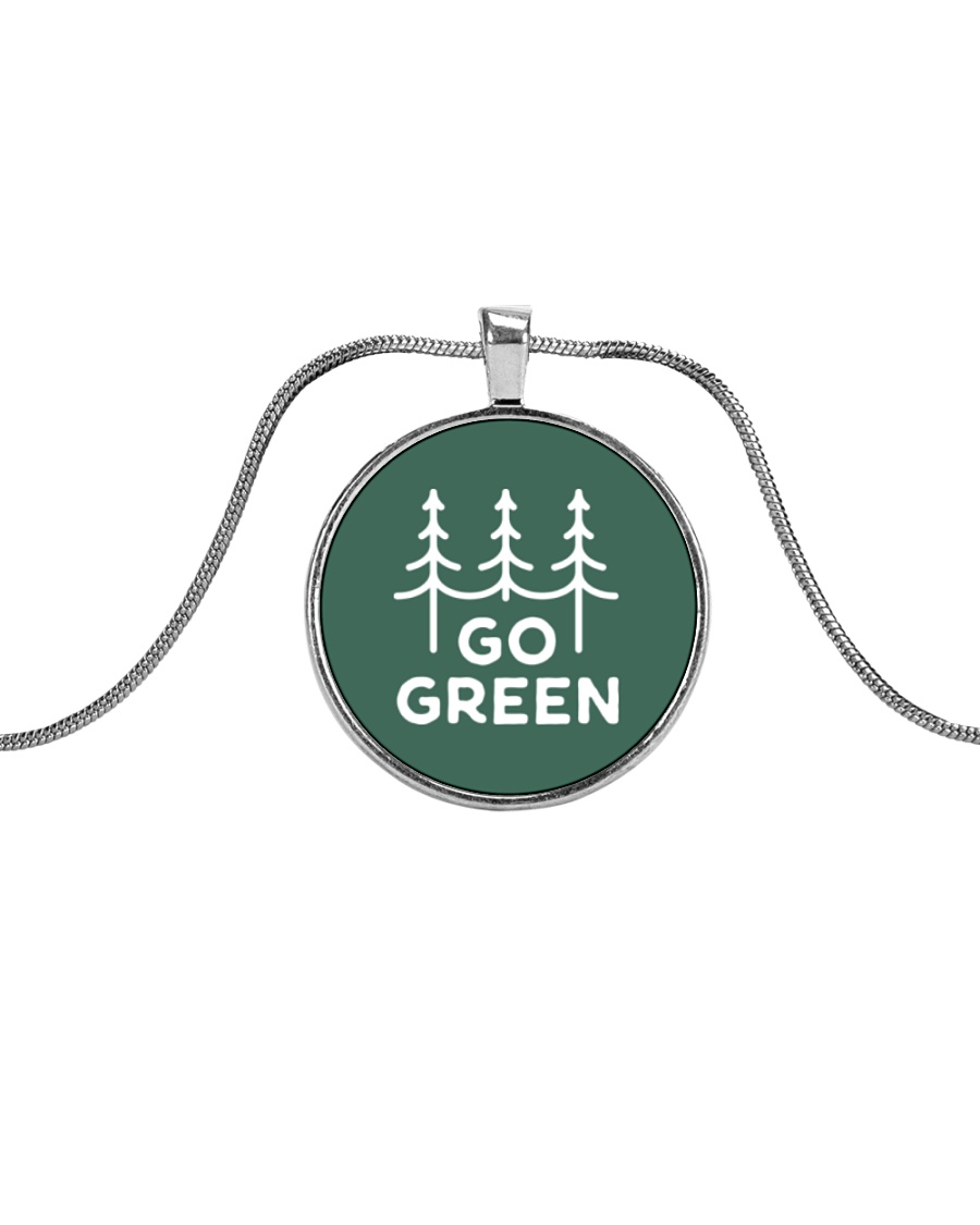 Go Green Metallic Circle Necklace