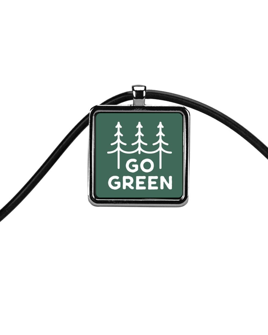 Go Green Cord Rectangle Necklace