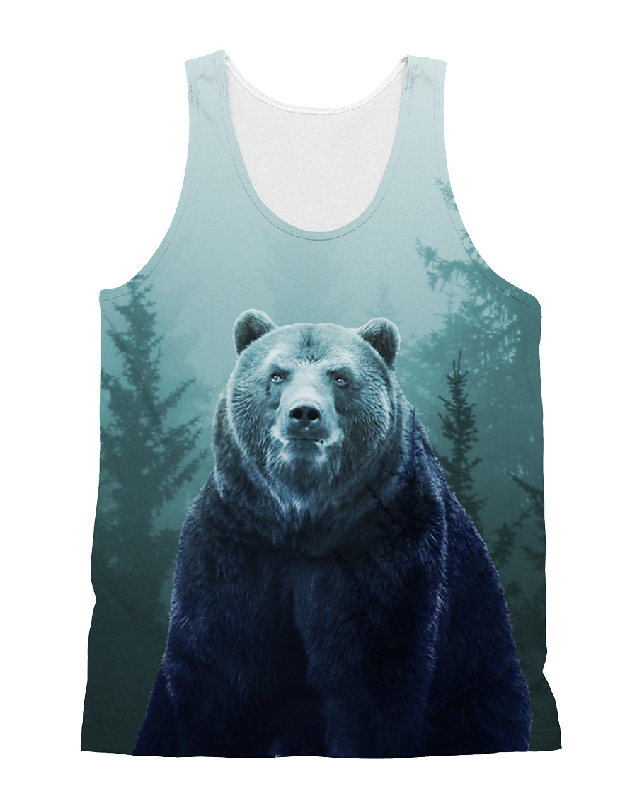 Beautiful Bear in the Forest All-over Unisex Tank