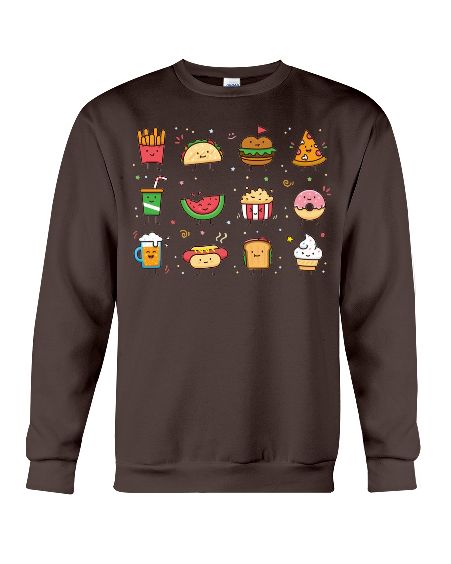 Cute Food Characters - Love Food Design Crewneck Sweatshirt
