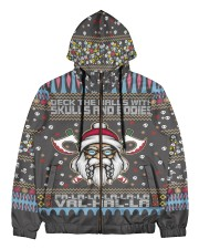 Viking deck the halls with skulls and bodies Men's All Over Print Full Zip Hoodie thumbnail