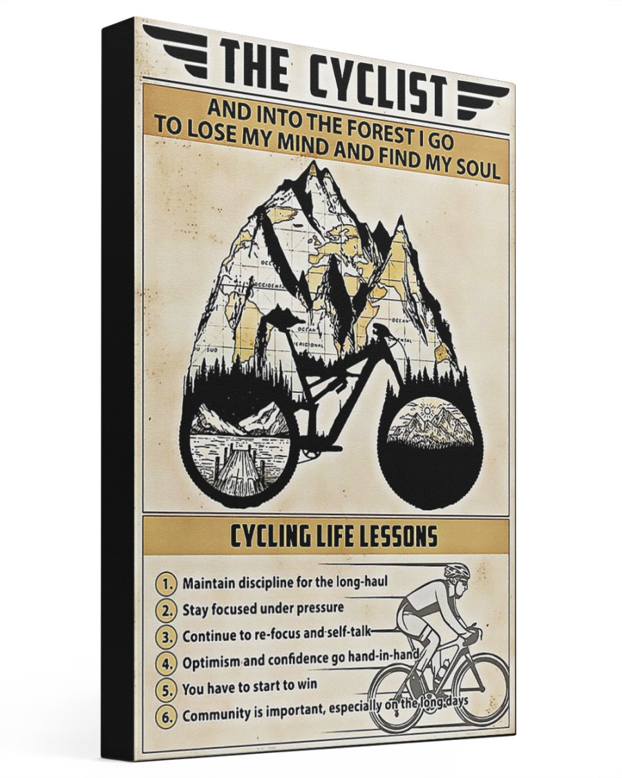 The cyclist cycling life lessons poster 16x24 Gallery Wrapped Canvas Prints