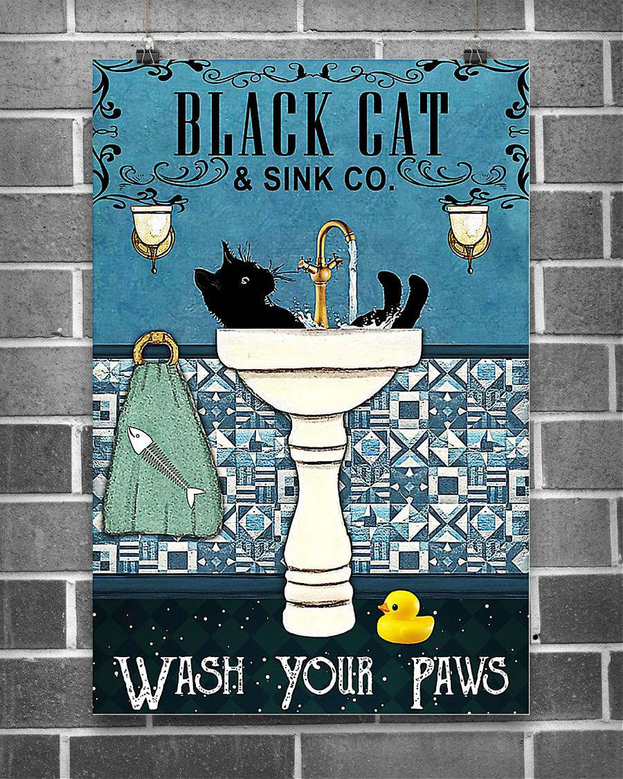 Black cat and sink co wash your paws poster 16x24 Poster