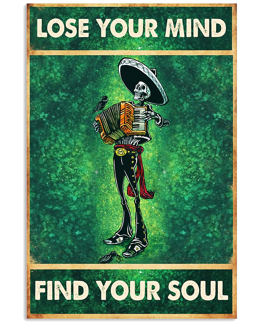 Skull accordion lose your mind find soul poster 11x17 Poster