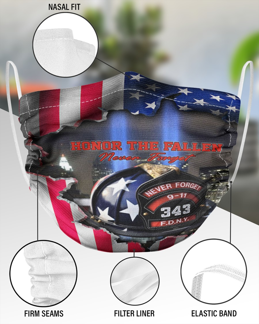 Honor the fallen never forget face mask 2 Layer Face Mask - Single