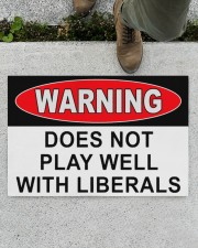"""Warning does not play well with liberals doormat Doormat 22.5"""" x 15""""  aos-doormat-22-5x15-lifestyle-front-01"""