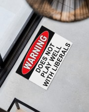 """Warning does not play well with liberals doormat Doormat 22.5"""" x 15""""  aos-doormat-22-5x15-lifestyle-front-08"""