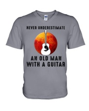 Old Man With guitar V-Neck T-Shirt tile