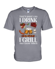 Drink And Grill V-Neck T-Shirt thumbnail