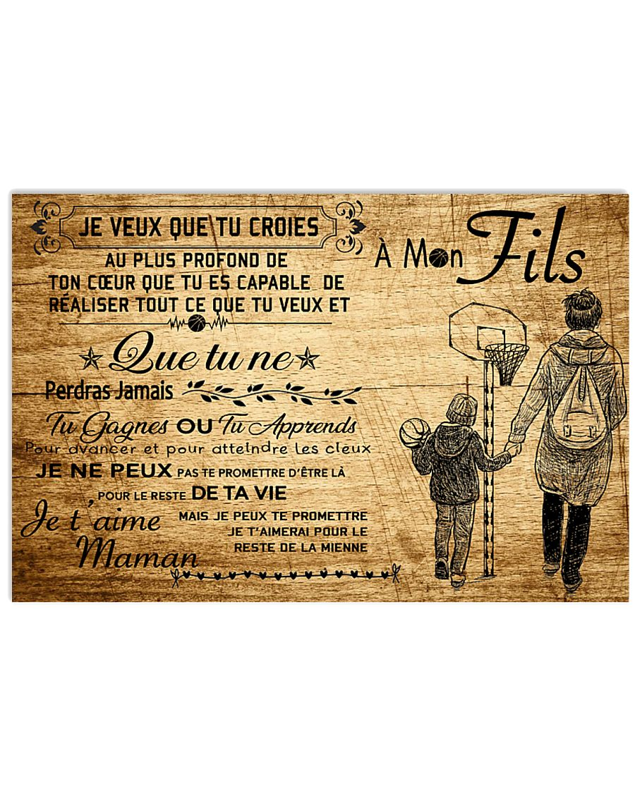 basketball poster - to son-never lose french vs3 17x11 Poster