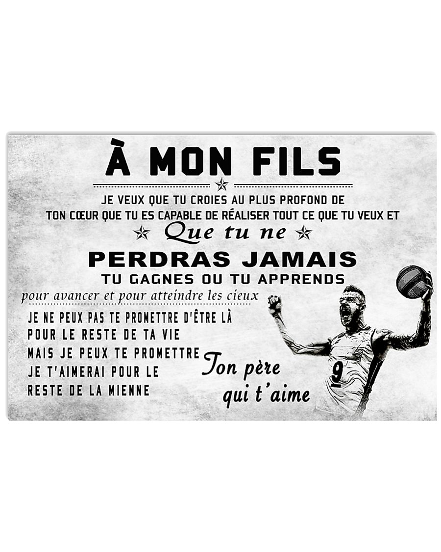 volleyball poster - to son-never lose french vs2 17x11 Poster
