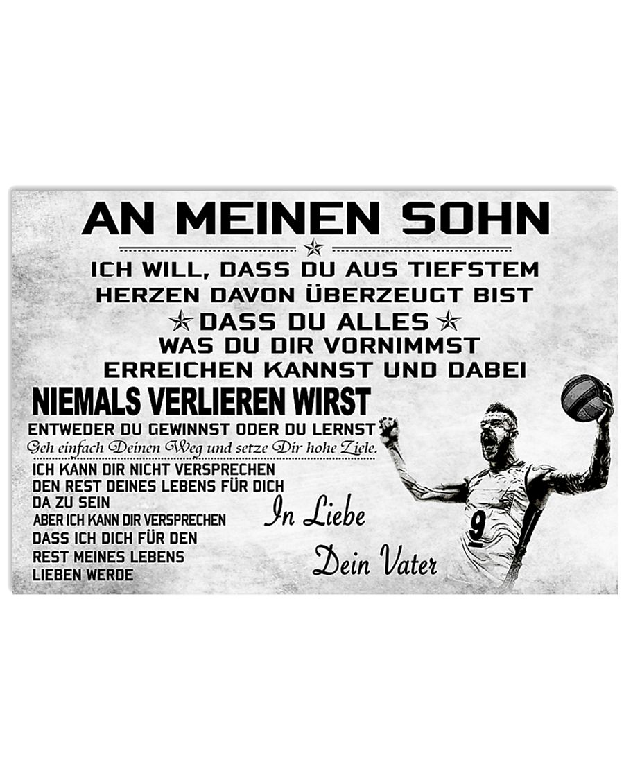 volleyball poster - to son-never lose german vs2 17x11 Poster