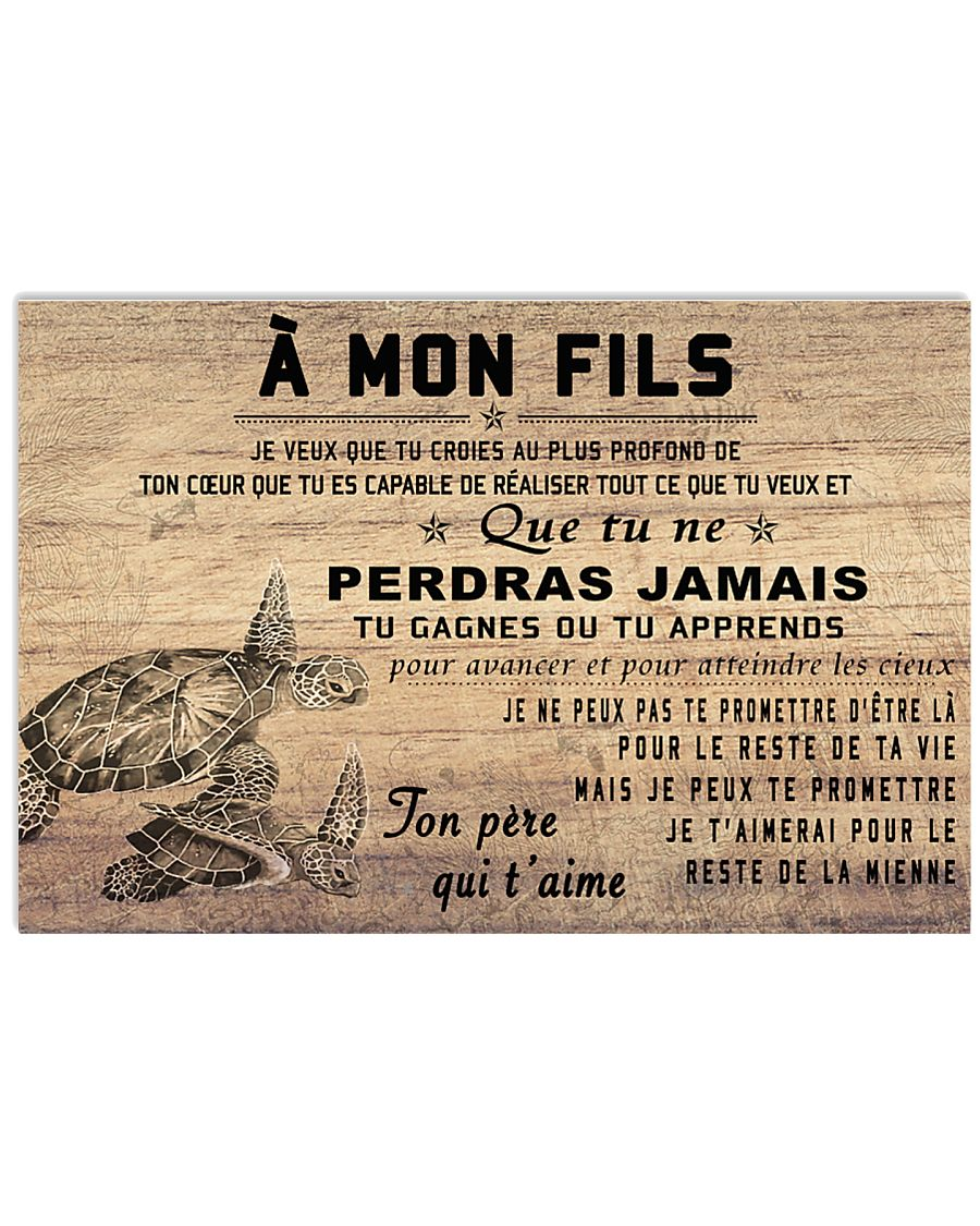 turtle poster - to son-never lose french version 17x11 Poster
