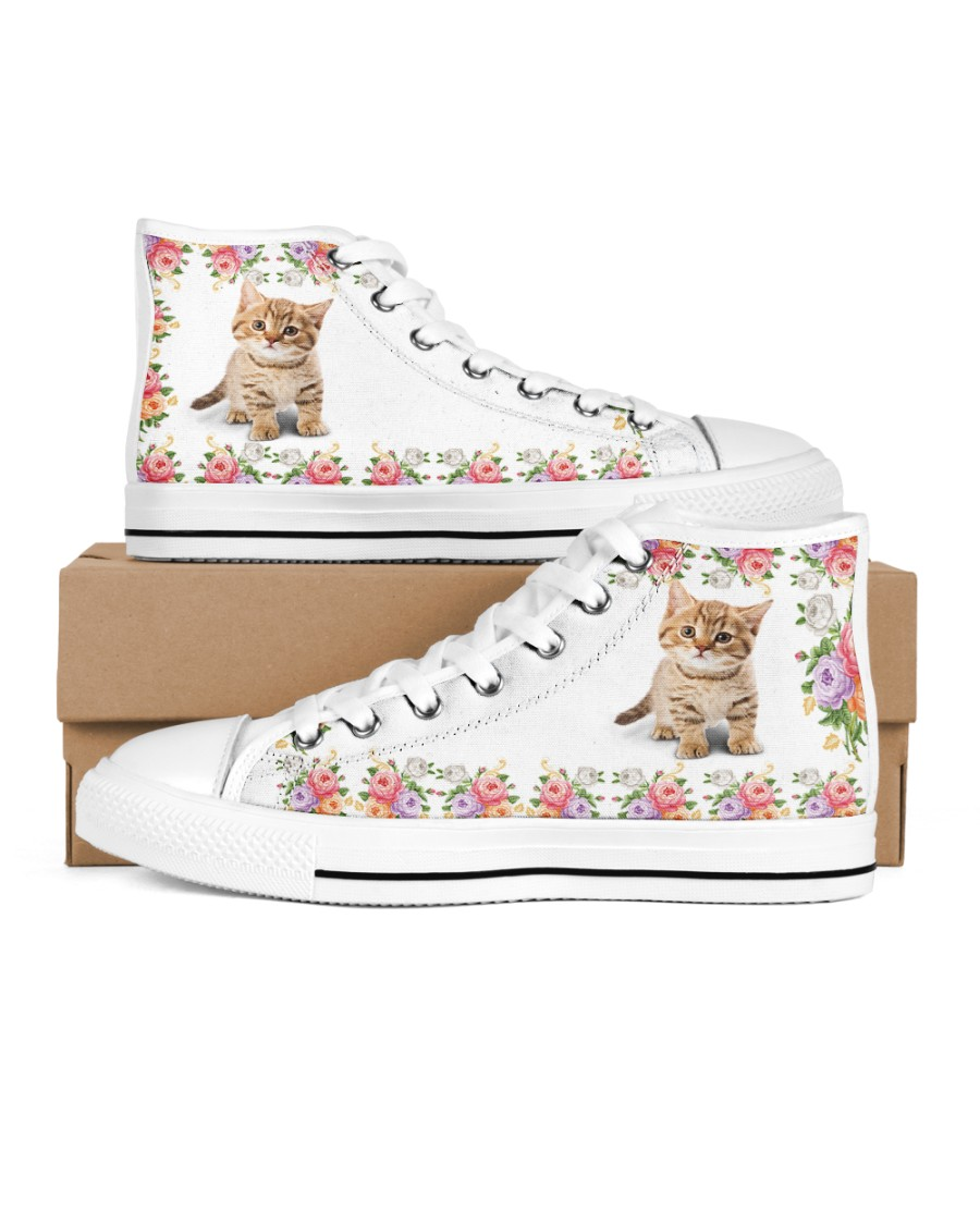 CAT FLOWER HIGH TOP Women's High Top White Shoes