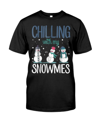 Chilling With My Snowmies Christmas Funny T Shirt