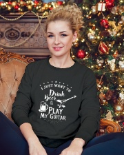 Drink Beer and Play Guitar Crewneck Sweatshirt lifestyle-holiday-sweater-front-2