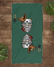 Queen of Clubs 3d Design Beach Towel aos-towelbeach-vertical-front-lifestyle-1