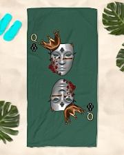 Queen of Clubs 3d Design Beach Towel aos-towelbeach-vertical-front-lifestyle-2
