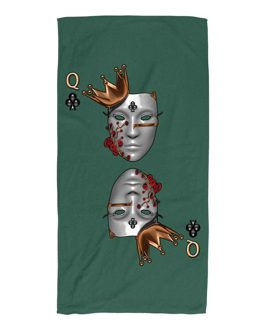 Queen of Clubs 3d Design Beach Towel