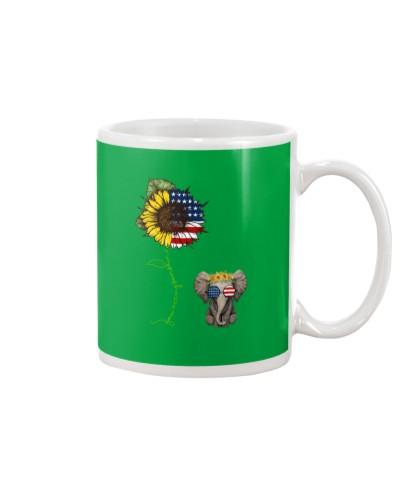 You Are My Sunshine Flag US Sunflower Elephant Tee