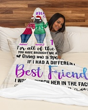"""Girls Best Friend Blanket Personalize Large Fleece Blanket - 60"""" x 80"""" aos-coral-fleece-blanket-60x80-lifestyle-front-03"""