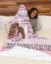 "Grandmother Granddaughter Stronger Pink Blanket Large Fleece Blanket - 60"" x 80"" aos-coral-fleece-blanket-60x80-lifestyle-front-03"