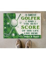 """A Great Golfer DD010721NA Customize Name Doormat 22.5"""" x 15""""  aos-doormat-22-5x15-lifestyle-front-04"""