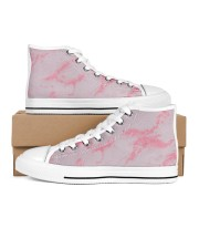 Pink marble Men's High Top White Shoes thumbnail