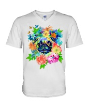 ColoryLIFE - Love your pugs V-Neck T-Shirt thumbnail
