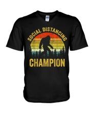 Social Distancing Champion Funny Bigfoot T Shirt V-Neck T-Shirt thumbnail