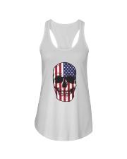 America-skull usa flag t shirt Ladies Flowy Tank thumbnail