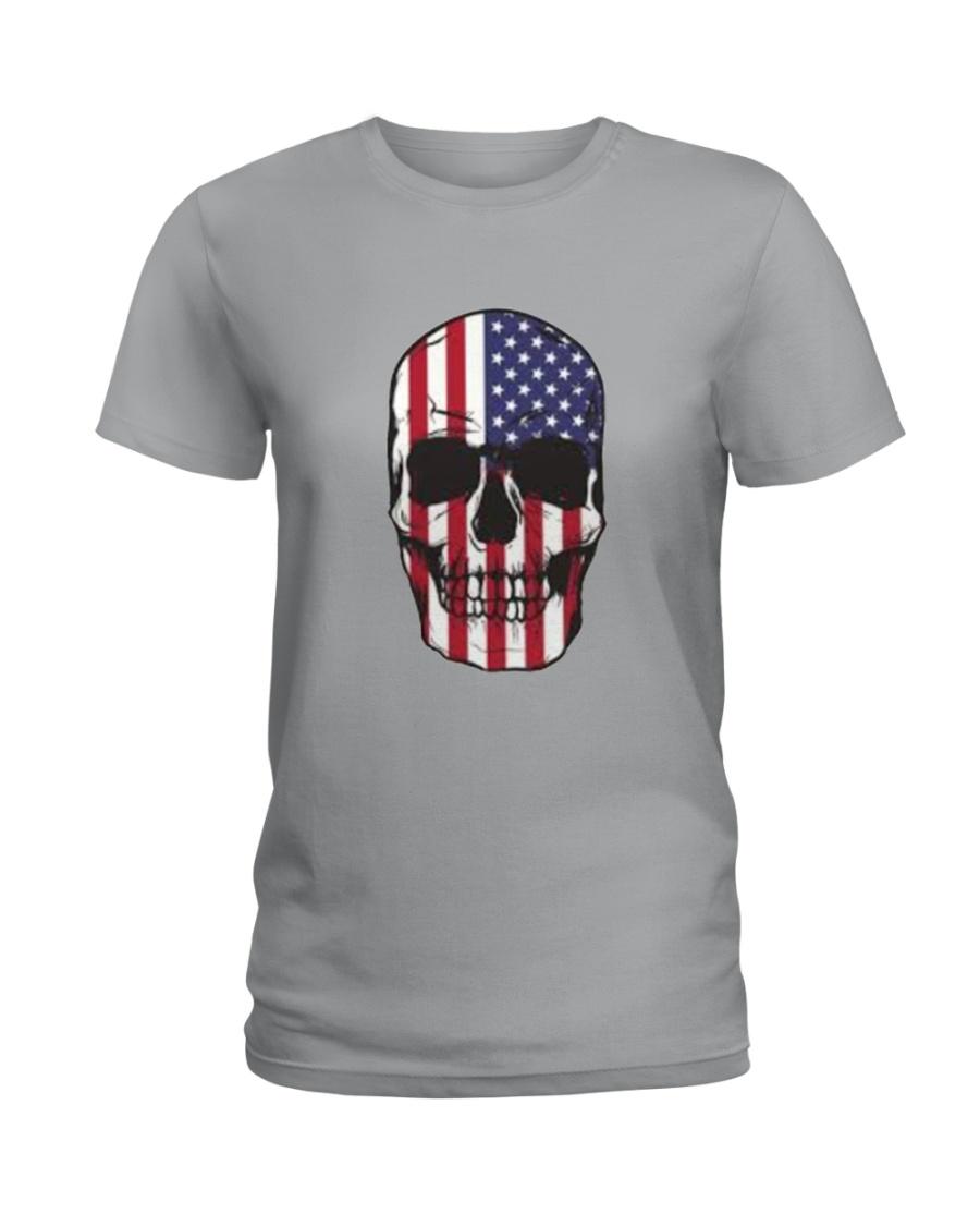 America-skull usa flag t shirt Ladies T-Shirt