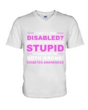 Diabetes Look Stupid V-Neck T-Shirt front