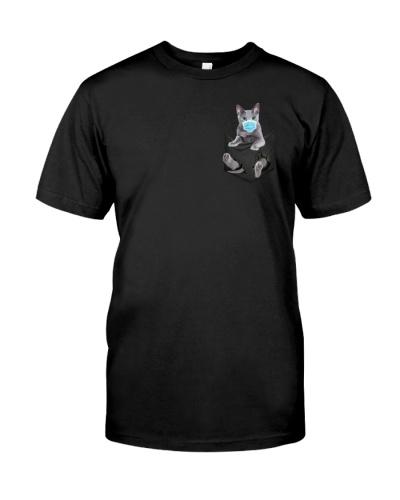 Russian Blue Cat In Pocket