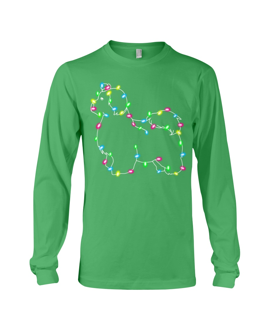 Christmas Lights Xmas Dog Maltese Long Sleeve Tee