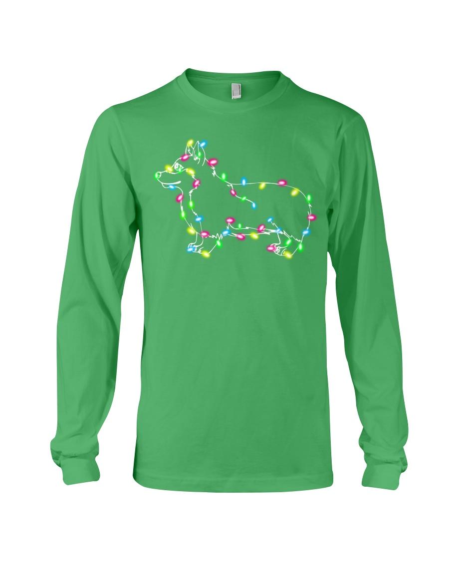 Christmas Lights Xmas Dog Pembroke Welsh Corgi Long Sleeve Tee