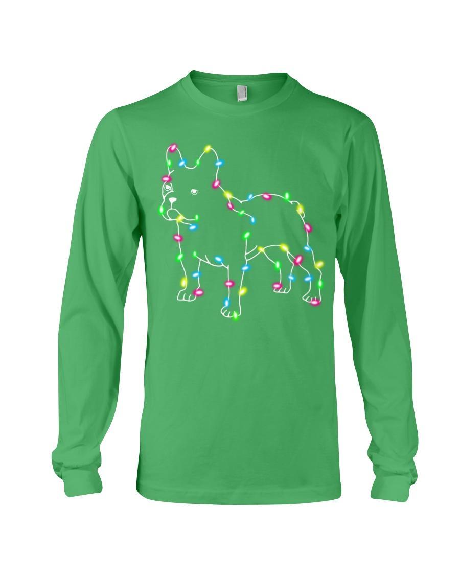 Christmas Lights Xmas Dog French Bulldog Long Sleeve Tee
