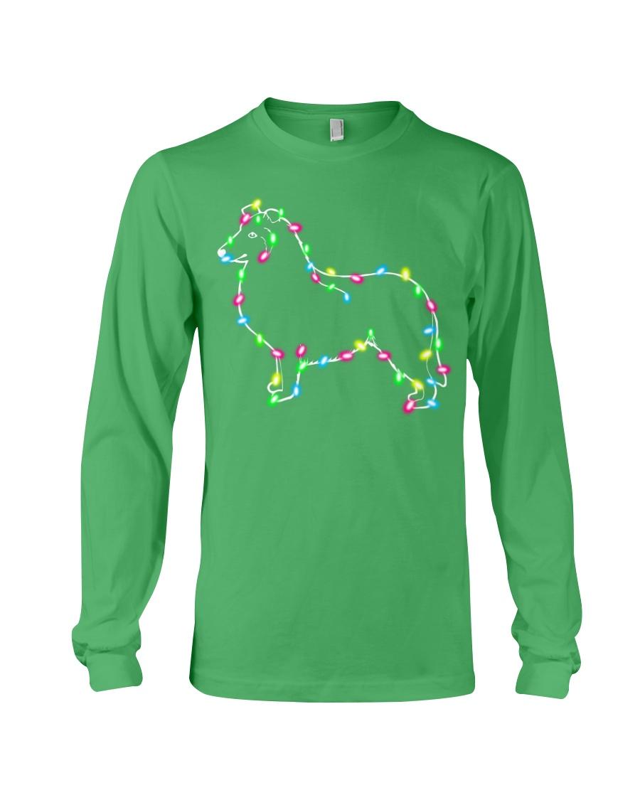 Christmas Lights Xmas Dog Collie Long Sleeve Tee