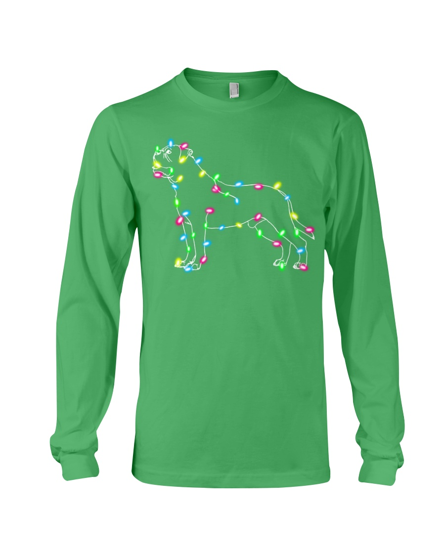 Christmas Lights Xmas Dog Mastiff Long Sleeve Tee