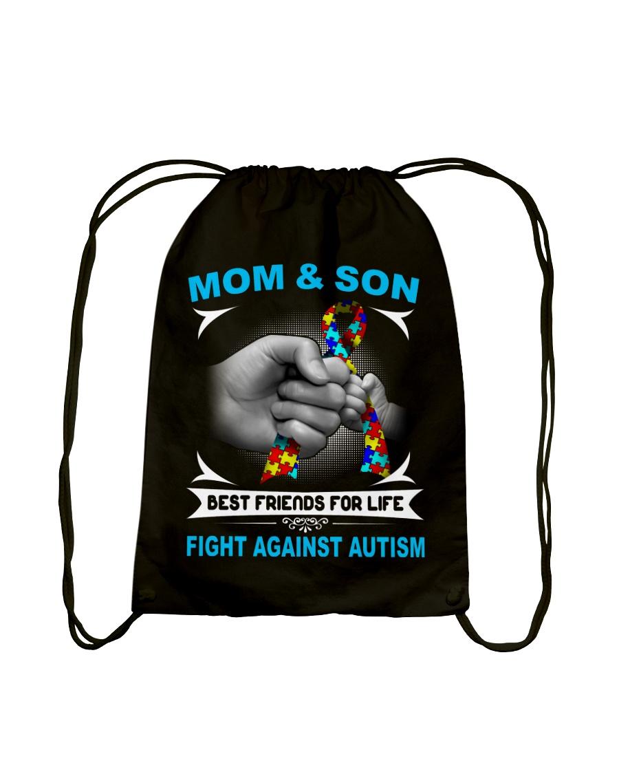 Autism Mom And Son Drawstring Bag